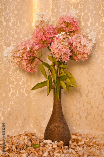 white and pink hydrangea bouquet still life