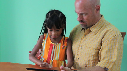 Daughter Hijacking Digital Tablet From Dad