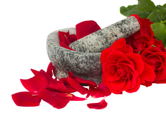 Mortar with rose  ??? petals