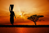 African woman at sunset