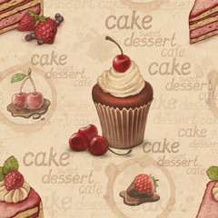 Vintage seamless pattern with cake illustrations