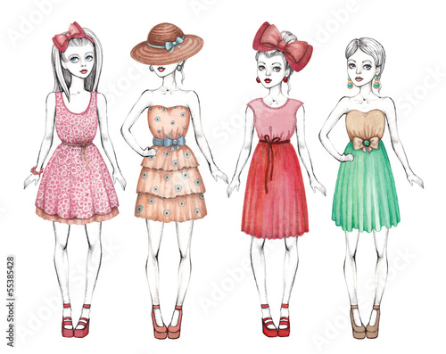 Fashion girls illustration. Line art and watercolor