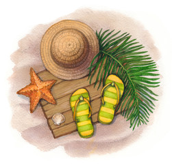 Summer holiday illustration. Straw hat, flip flops and shells