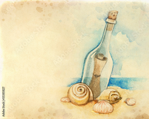Watercolor illustration of message in a bottle