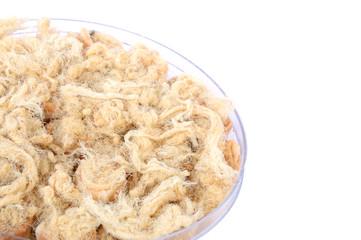 Dried shredded pork on white background