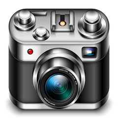 Photo camera icon with zoom lens, vector illustration