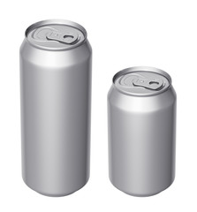 Cans of beer or other drinks on a white background