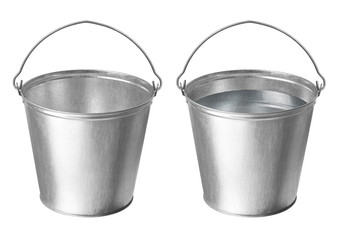Metallic buckets on a white background