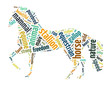 Words illustration of a galloping horse over white background