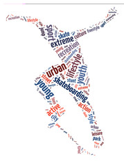 Words illustration of a man skateboarding in white background.