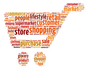 Words illustration of a shopping trolley over white background