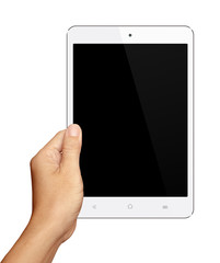 Hand holding Small White Tablet Computer on white background