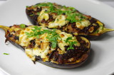 two stuffed aubergines