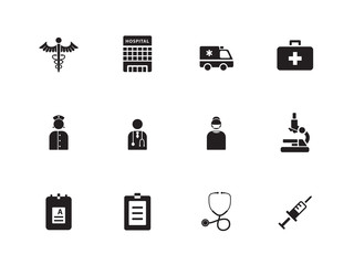 Hospital icons on white background.