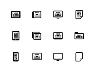 Newspaper icons on white background.