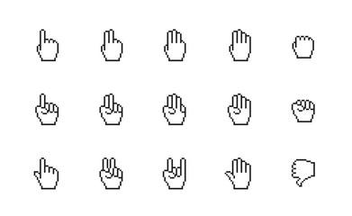 Pixel cursors icons: mouse hands.