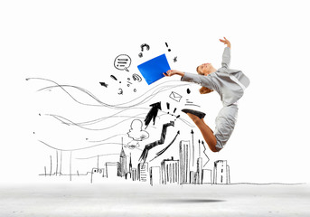 Jumping businesswoman
