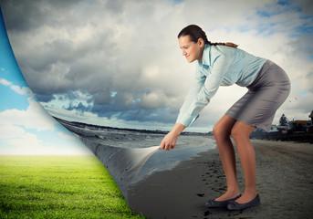 Woman changing reality