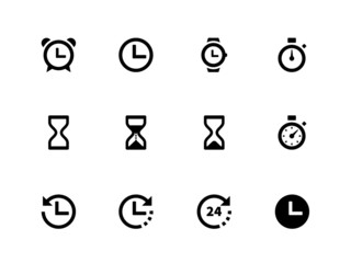Time and Clock icons on white background.