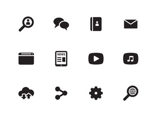 Web icons on white background.