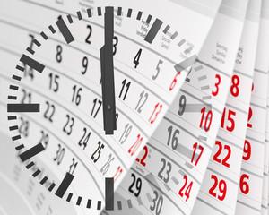 Kalender. Uhr. Zeit.