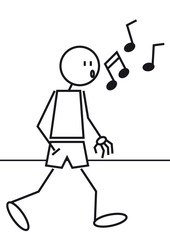 Stick figure whistling