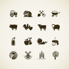 Set of farm icons