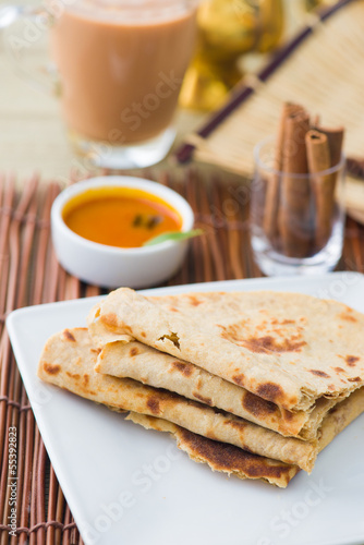 Indian flat-bread called chapati on plate
