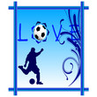 love football in blue photo frame vector illustration