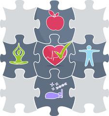 Healthy lifestyle puzzle Good sleep, fitness, healthy food