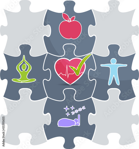 Healthy lifestyle puzzle Good sleep, fitness, healthy food