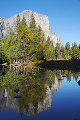 Reflections on the Mirror Lake, Yosemite National Park, Californ