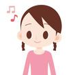 女の子 上半身 音符 楽しい