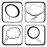 Four thought / speech bubbles