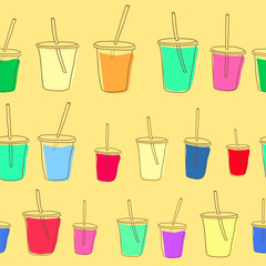 Set of vector milk shake. Isolated on white background.