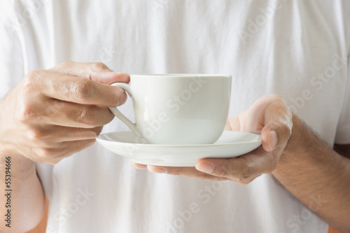 Enjoying a cup of coffee