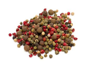 Peppercorn mix isolated on white background