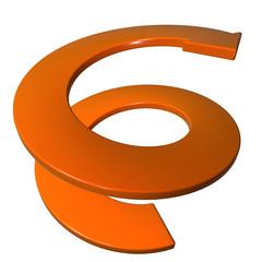 Freccia arancione a spirale crescita