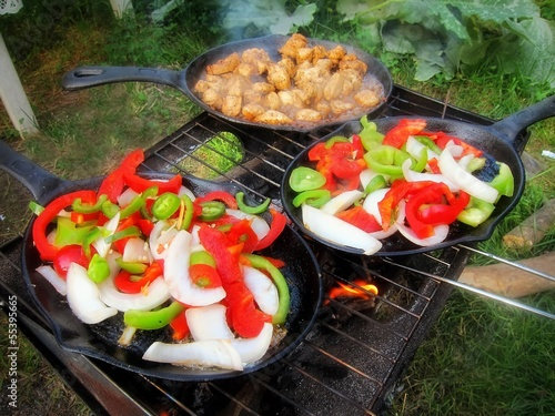 Sizzling healthy fajita meat veggie dinner barbecue grill