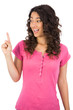 Smiling brown haired woman finger up