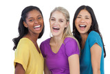 Diverse laughing women looking at camera
