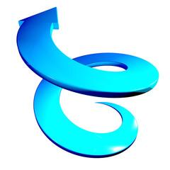 Freccia blu a spirale crescita