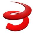 Freccia rossa a spirale discesa