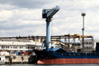 Cargo ship, containers and crane