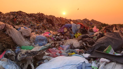 Rubbish Dump At Sunset