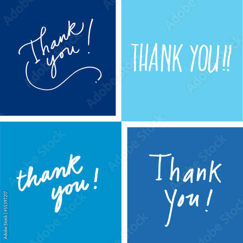 Thank you vector lettering blue