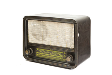 Antique radio tube isolated on white background