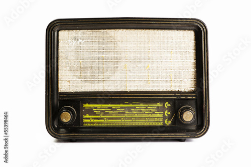Antique radio tube isolated on white background