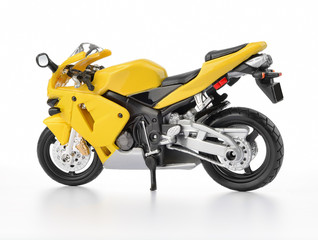 Yellow motorcycle on white background