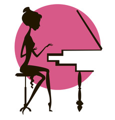 Silhouette of the girl at the piano